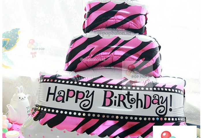Balon Foil Happy Birthday Cake 3 Susun Jumbo Warna Tosca Size 100 Cm