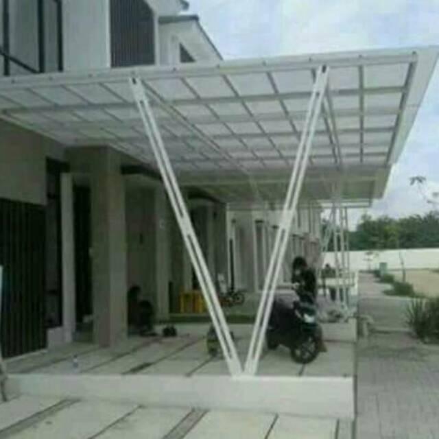 kanopi baja ringan tiang double canopy atap alderon v shopee indonesia