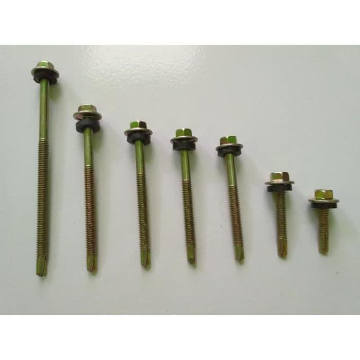 alat baut roofing skrup drilling 12 x 65 mm 6 5 cm kuning karet
