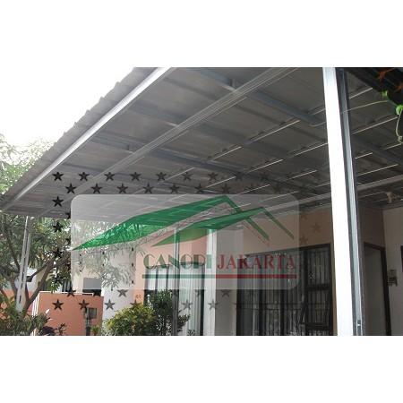 kanopi baja ringan tiang miring atap spandek model minimalis double