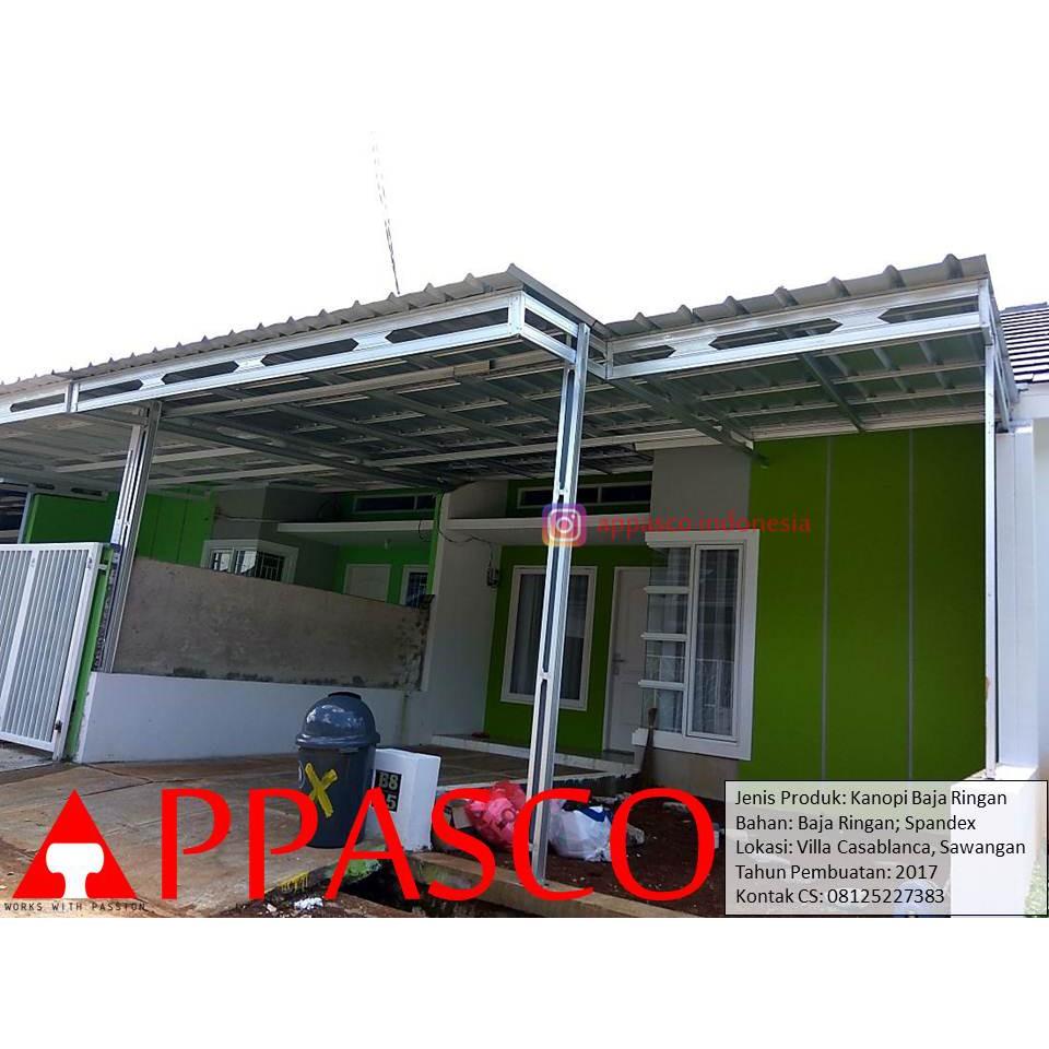 model kanopi baja ringan minimalis modern bajaringan spandek di villa casablanca