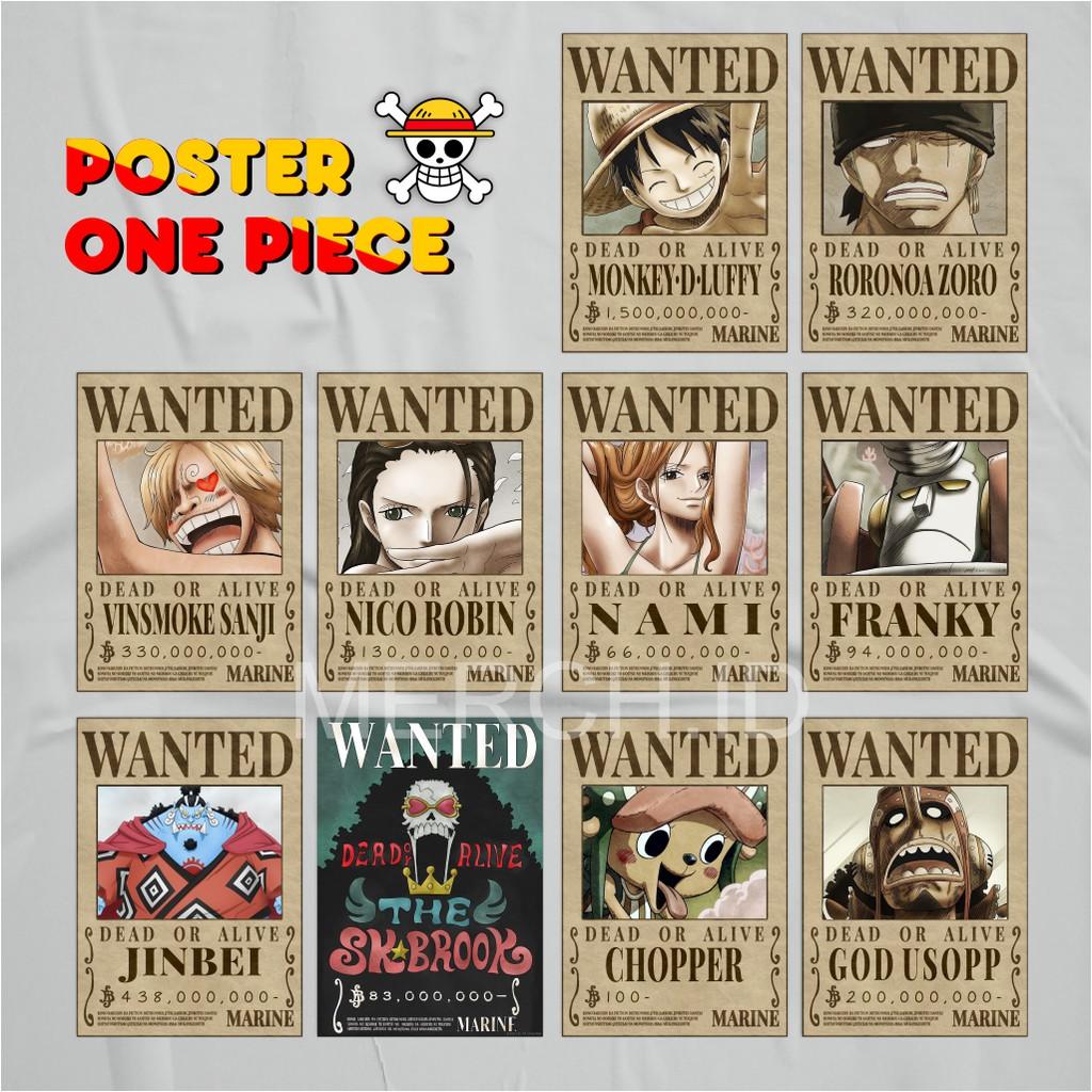 Shanks' bounty is 4,048,900,000 berries. Poster One Piece Bounty Luffy Zoro Sanji Chopper Franky Usop Nami Brook Robin Shopee Indonesia