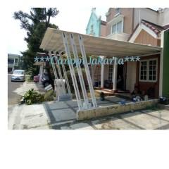Baja Ringan Teras Rumah Kanopi Alderon Tiang Miring 6 Garis Cat Shopee