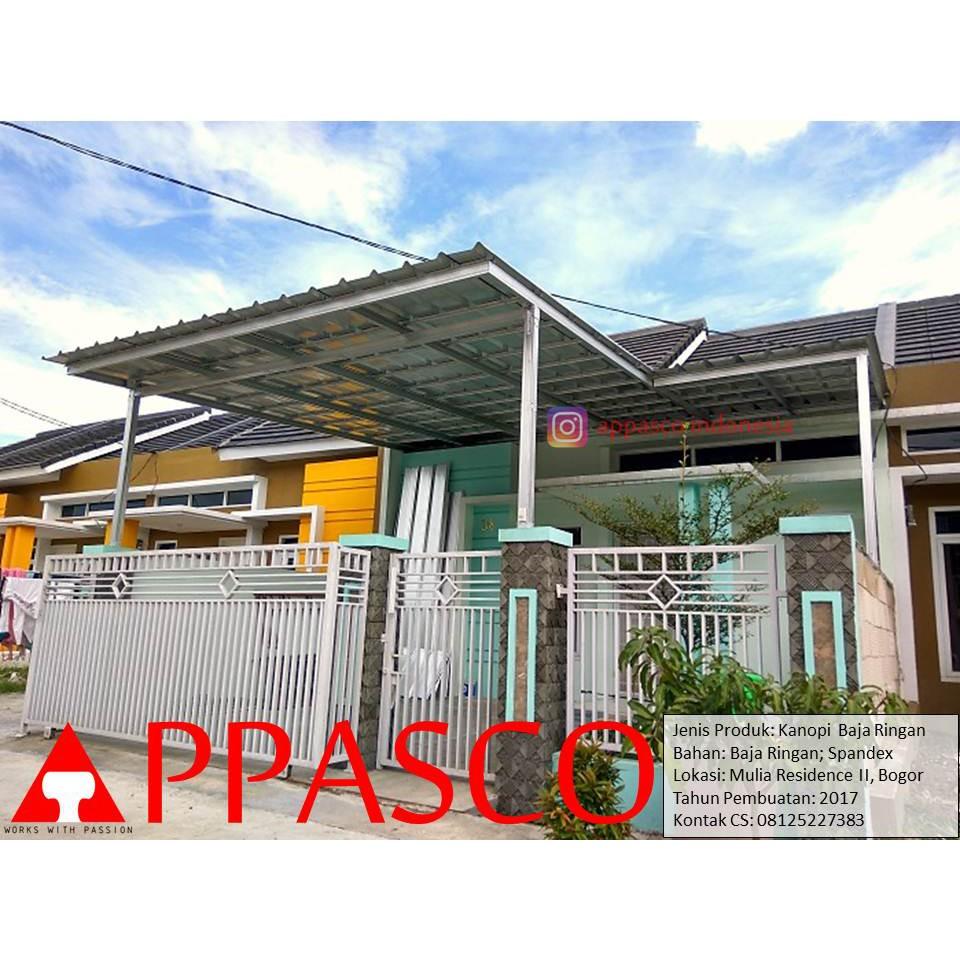 contoh kanopi baja ringan atap spandek model minimalis di bogor shopee indonesia