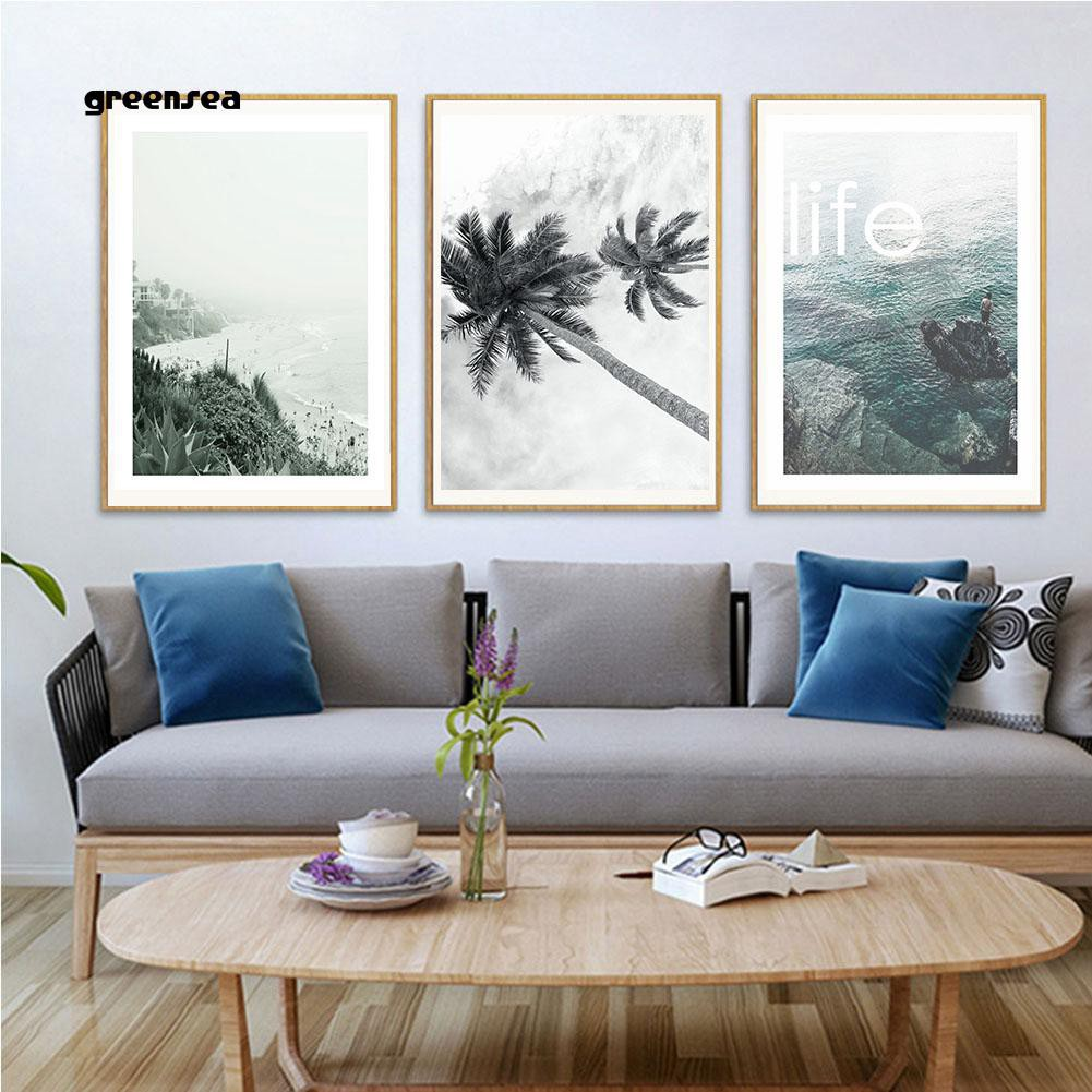 Greensea Nordic Beach Scenery Canvas Painting Wall Art Picture Living Room Home Decor Shopee Indonesia