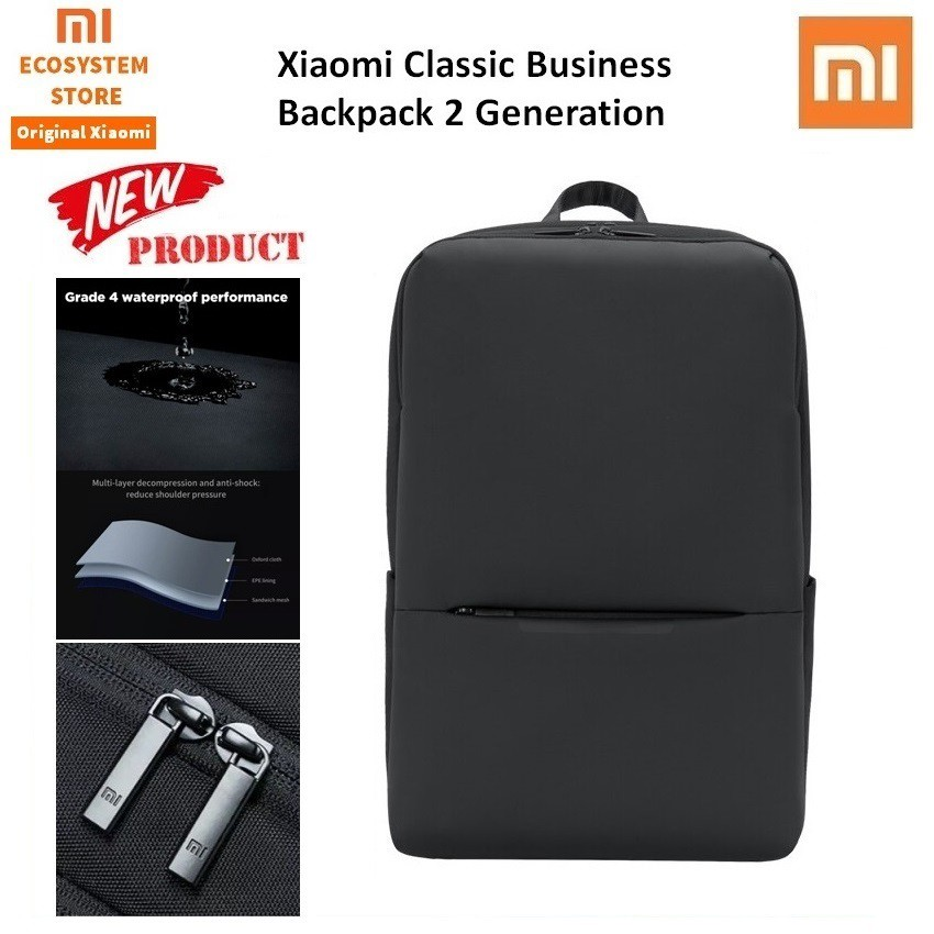 Xiaomi Backpack Mi Classic Business Backpack 2 Generation 18l Level 4 Waterproof 15 6inch Tas Laptop Shopee Indonesia