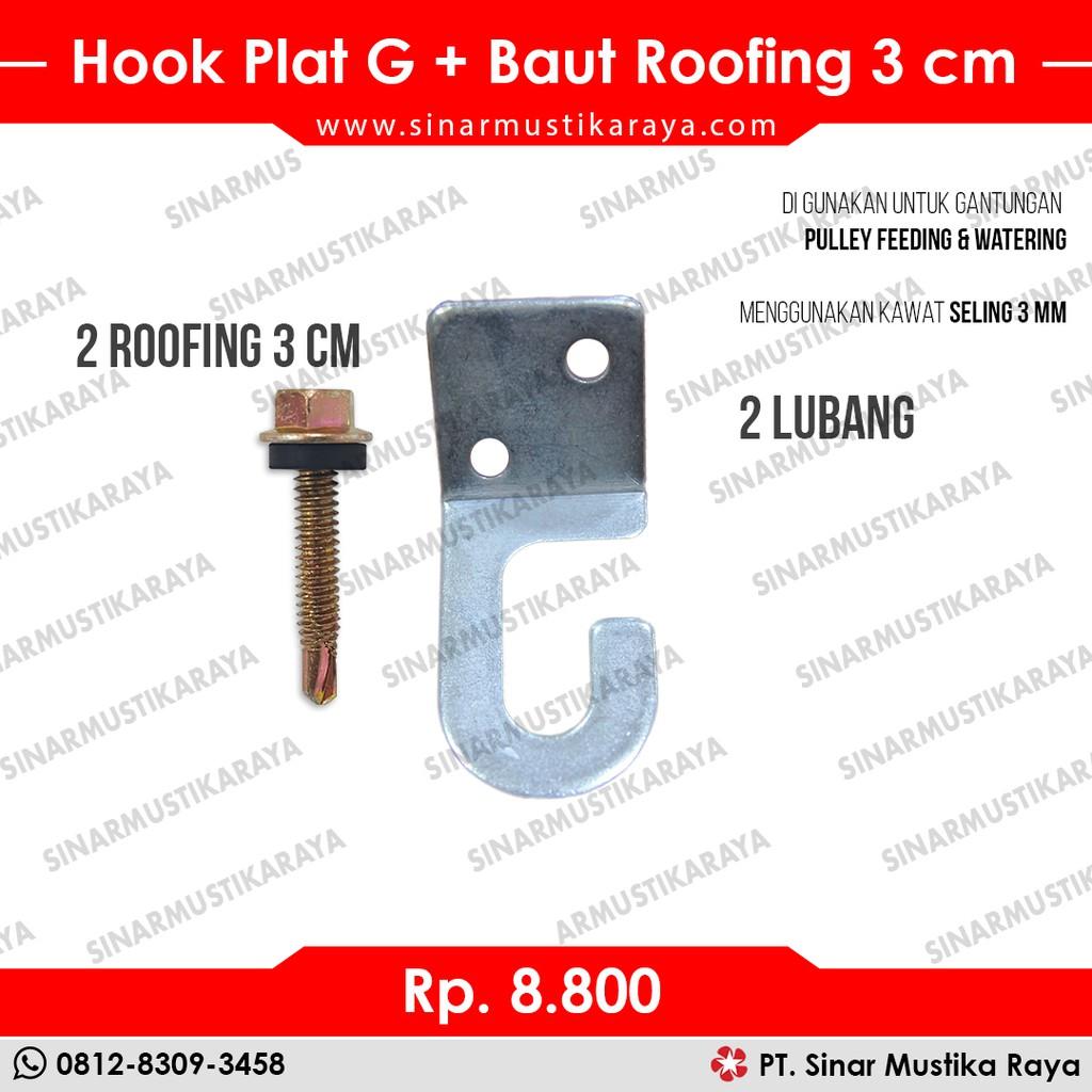 alat baut roofing hook g 3cm untuk gantungan pulley katrol
