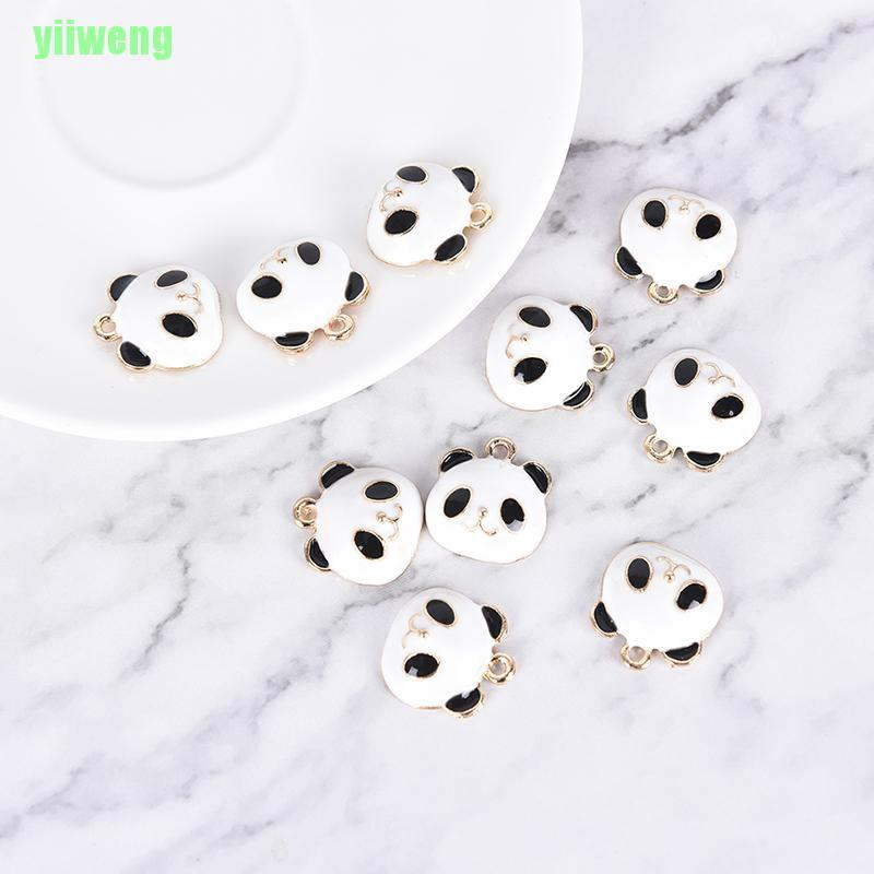 Yw 10pcs Set Cute Panda Animals Alloy Enamel Charms Pendant Diy Craft Jewelry Gift Shopee Indonesia