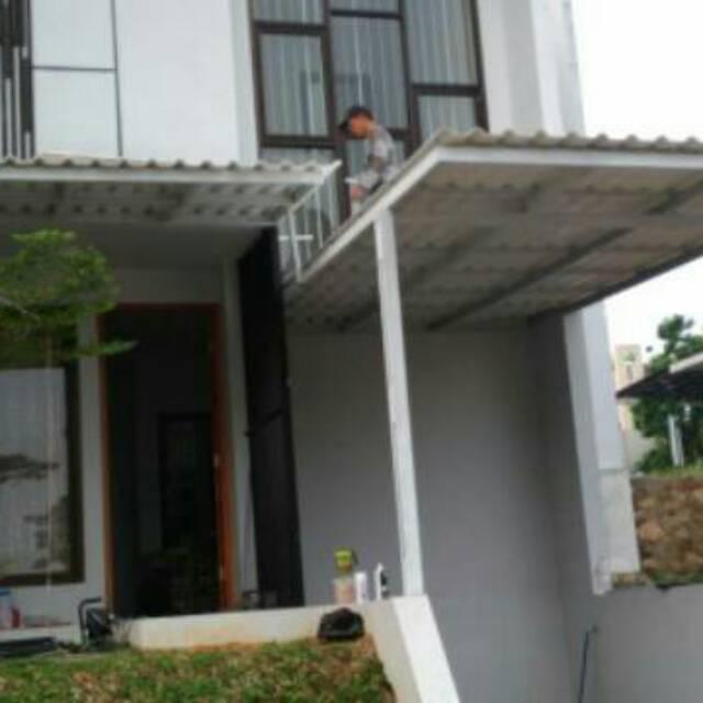 baja ringan teras rumah kanopi alderon model minimalis tiang double