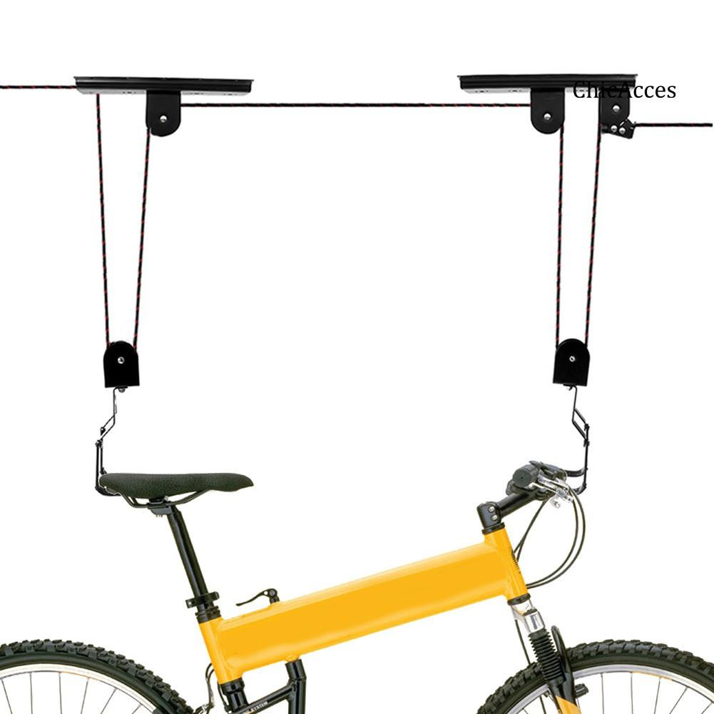 Acc Bike Lift Pulley Hook Garage Ceiling Metal Bicycle Display Hanging Storage Rack Shopee Indonesia