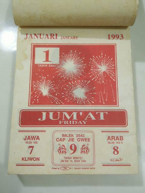 Kalender Tahun 1993 : kalender, tahun, Kalender, Harian, Lawas, Shopee, Indonesia