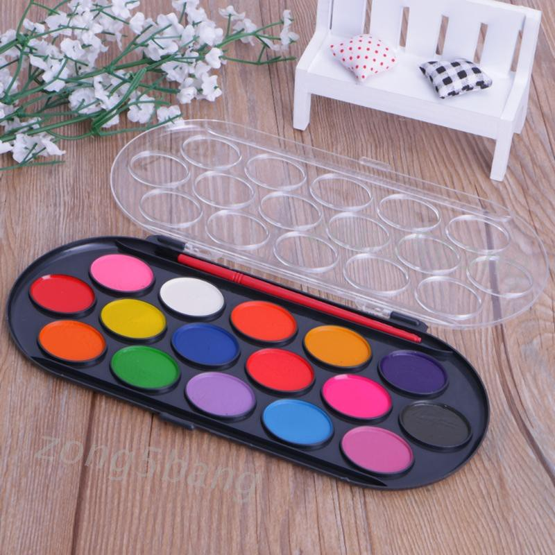 Zong 16pcs Watercolor Palette Brush Set Painting Tray Craft Drawing Art Mini Kid Gift Shopee Indonesia