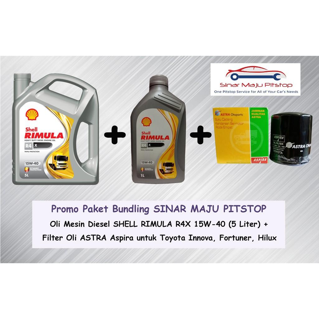 oli all new kijang innova grand avanza veloz 1.3 paket mobil diesel shell rimula r4x 6 l filter astra aspira toyota original shopee indonesia