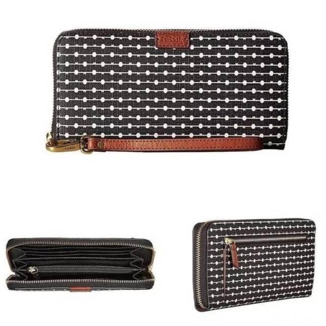 dompet wanita fossil emma zip clutch black stripe original women wallet branded hitam garis