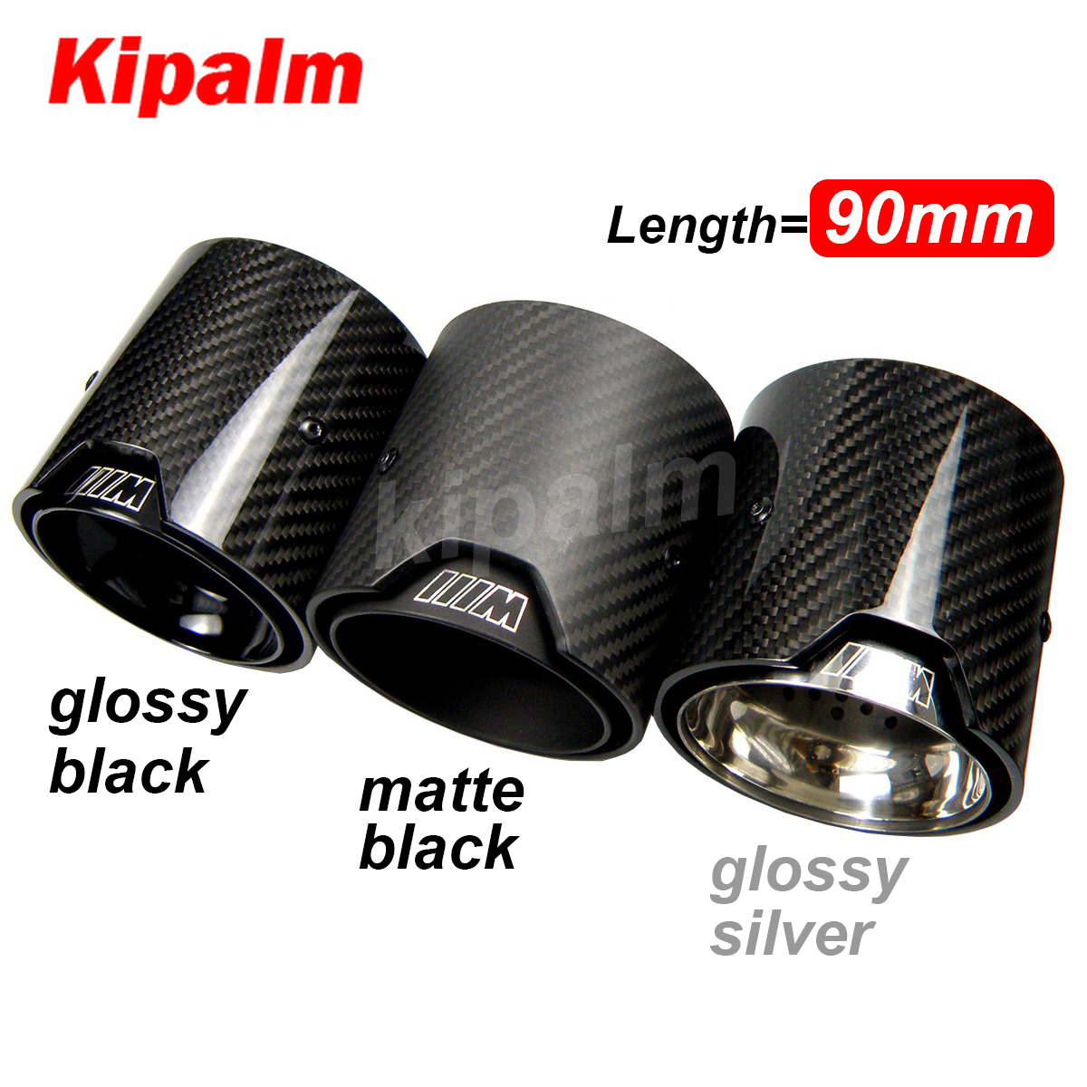1pcs universal m logo carbon fiber exhaust tips for m performance exhaust pipe for bmw muffler tail pipe 90mm length