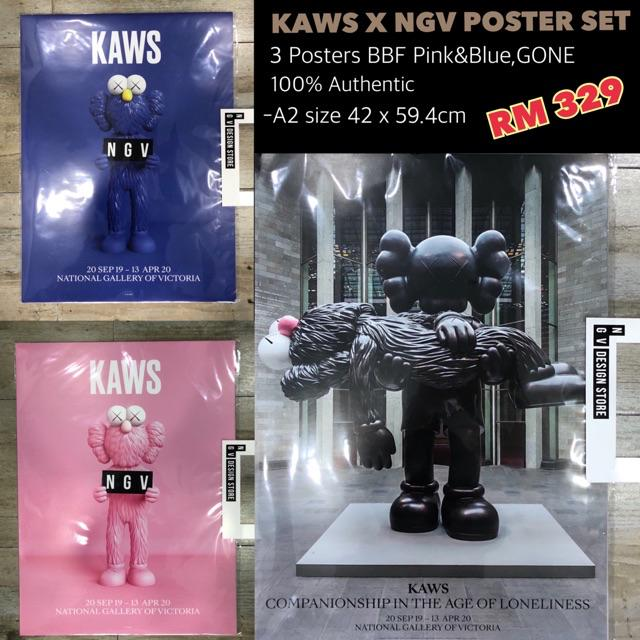ready stock kaws x ngv limited poster