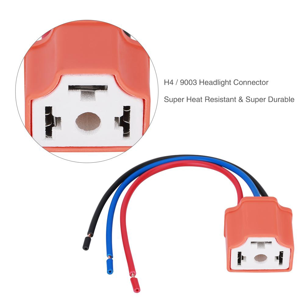 hight resolution of h4 9003 female headlamp wiring harness plug socket connector adapter