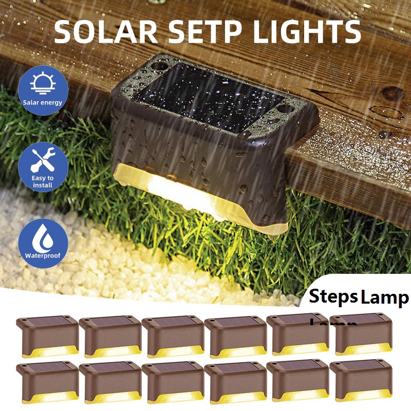16pcs led solar deck lights ip65 waterproof outdoor garden pathway yard patio stairs steps fence lamps