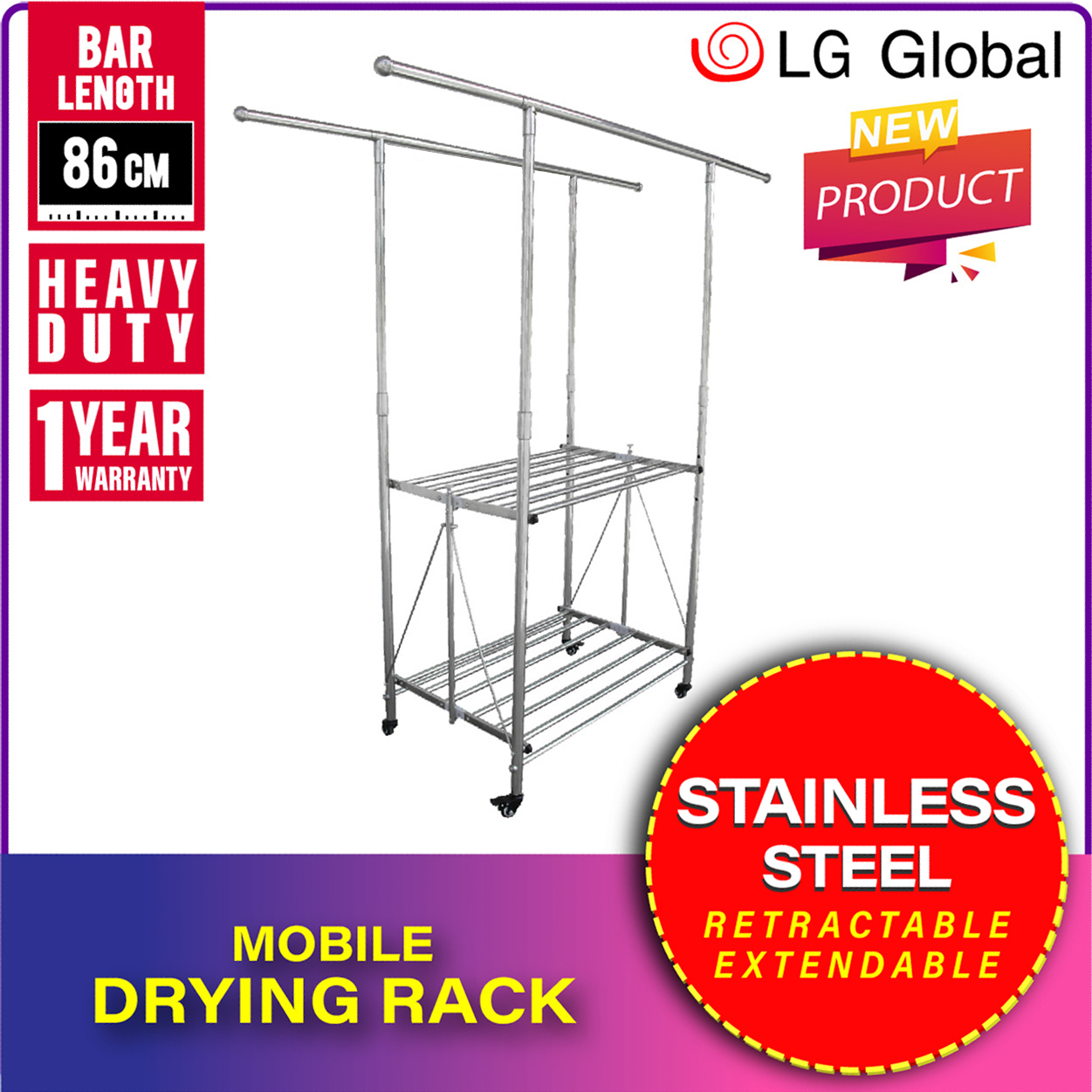 lg988 lg global mobile clothes drying rack mobile cloth laundry rack