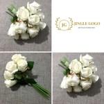 White Roses Bouquet 12 Stems Hand Flowers Bouquet Bridal Wedding Artificial Handbouquet Shopee Malaysia