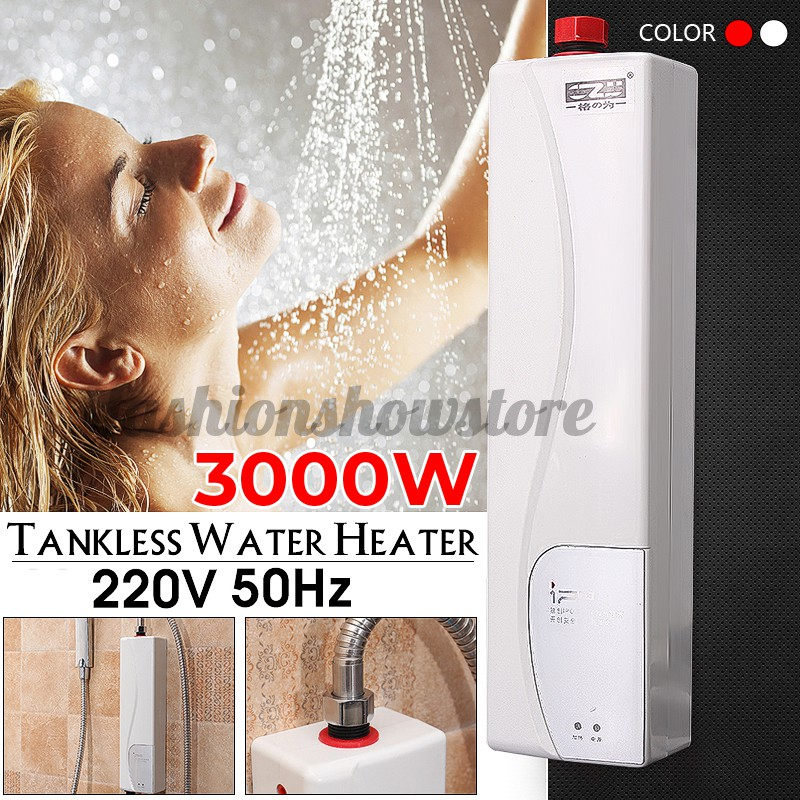 3000w bathroom electric tankless water heater instant hot under sink kitchen fashionshowstore