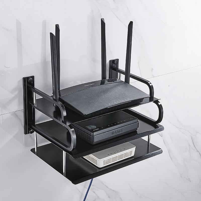 wall mounting black metal wireless wifi router storage boxes tv set top box dvd player stand telephone holder rack shelf bracket