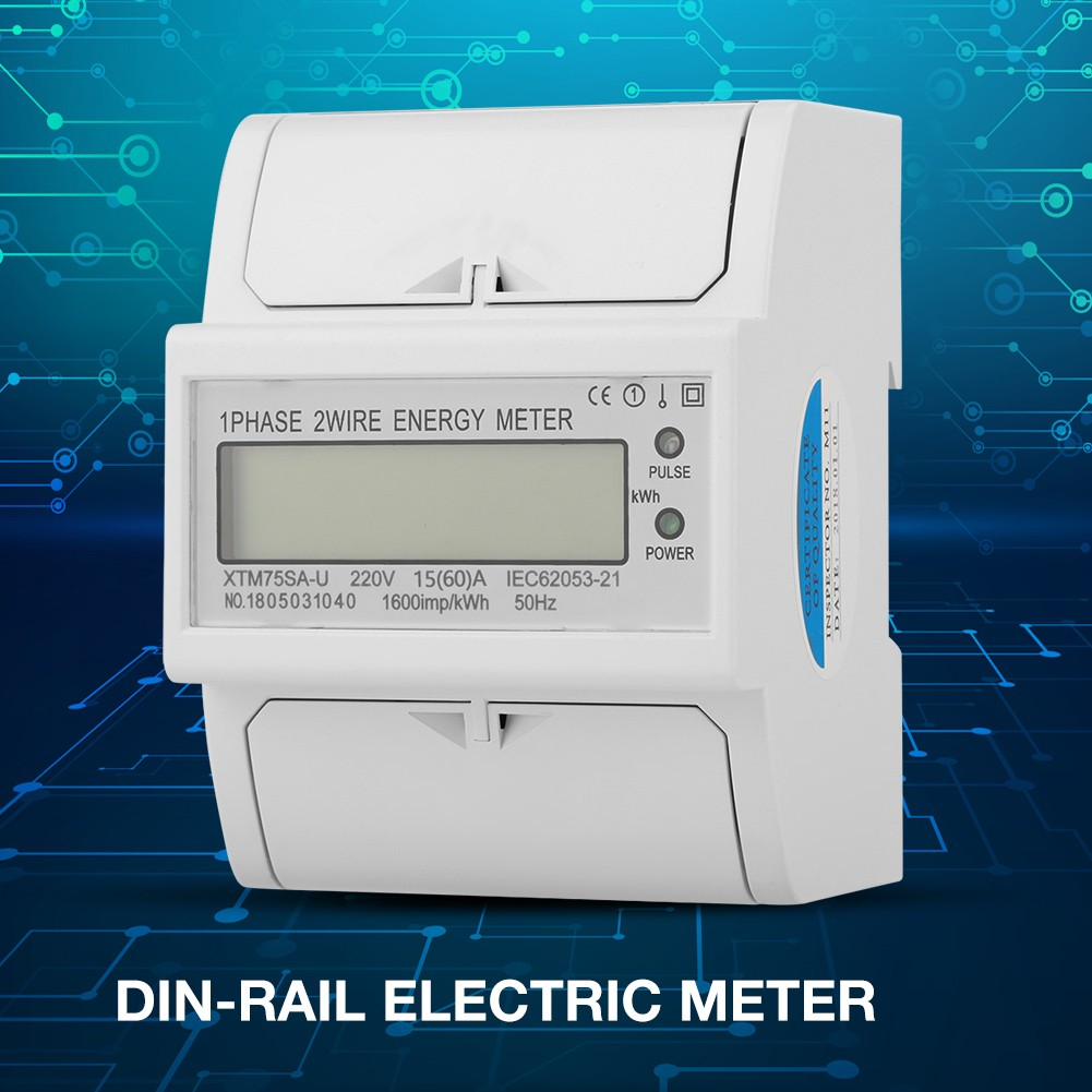 hight resolution of 220v digital 1 phase 2 wire 4p din rail electric meter electronic kwh meter