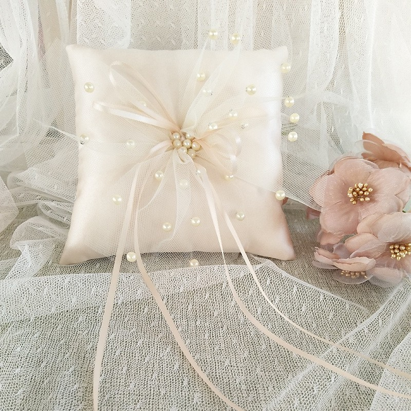 champagne faux pearl wedding ring pillow with ribbon decorative lace ring bearer pillow cushion ceremony pocket ring holder 15x15cm