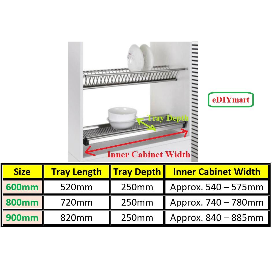 best buy stainless steel 304 2 tier 600mm 800mm 900mm kitchen cabinet dish rack drainer dryer plate cup rak dapur