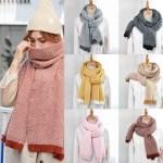 Enjoygrass W Q Women S Winter New Wool Scarf Fashion Casual Knitted Scarf Warm Thick Long Shawl Shopee Malaysia