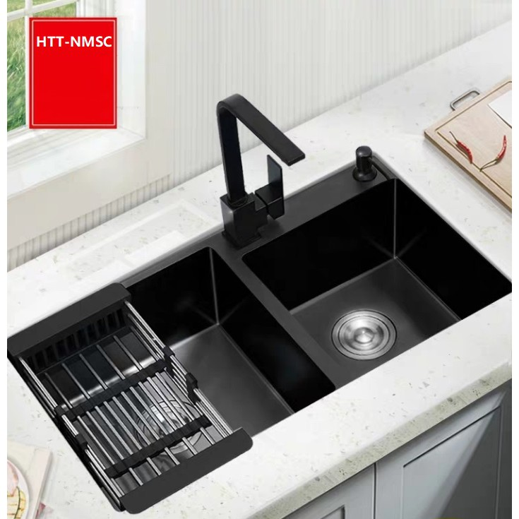 7 pieces gift included htt nmsc black granite double bowl kitchen sink