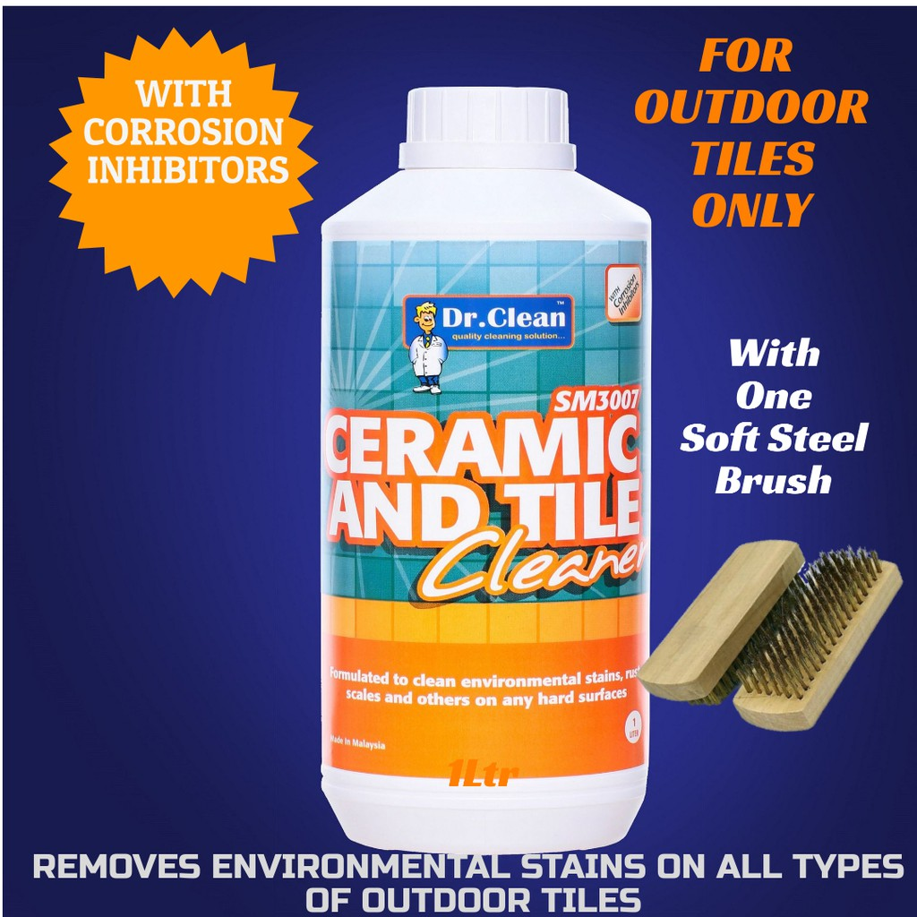 outdoor tile cleaner flower pot stain remover environmental stains remover dr clean 1ltr with soft steel brush