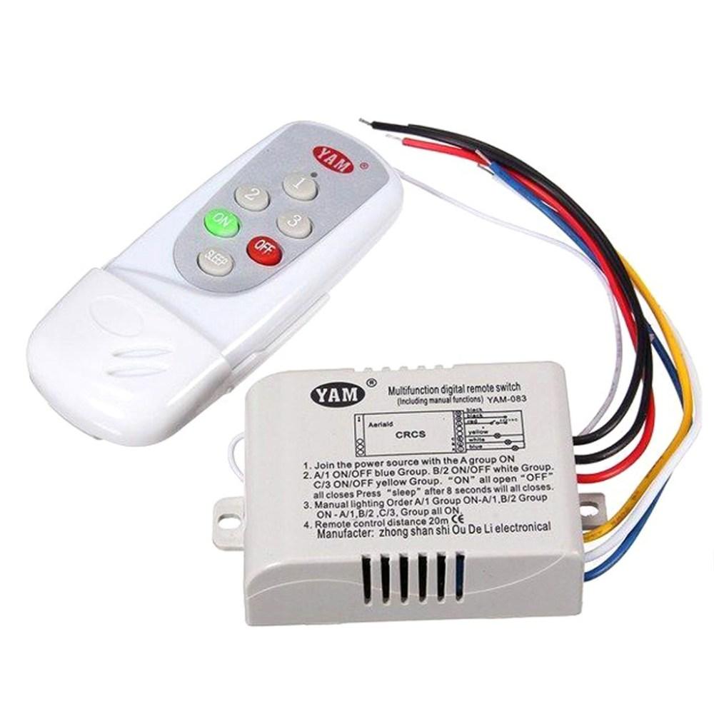 medium resolution of yam ac 220v wireless light lamp digital switch with remote control white yam 083 3 way shopee malaysia