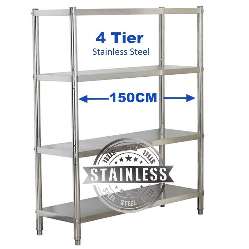 150cm stainless steel 4 tier adjustable shelving rack