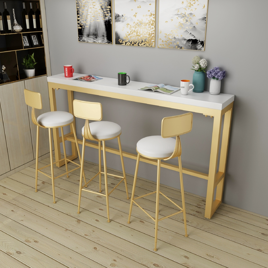 Nordic Creative Milk Tea Shop Bar Table Against The Wall Long Solid Wood Household Coffee Tables And Chairs Bar Shopee Malaysia