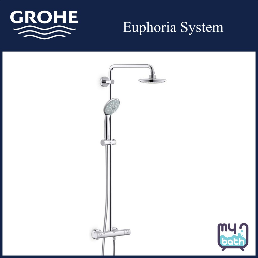 grohe 27296001 euphoria system 180 2 way exposed shower column with thermostatic shower mixer display