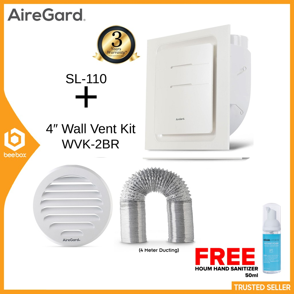 airegard sl 110 air ventilation exhaust fan super low profile series wall vent ducting kit wvk 2br