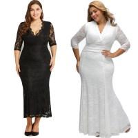Plus Size Wedding Dress Dinner Dress V-Neck Lace Fishtail ...