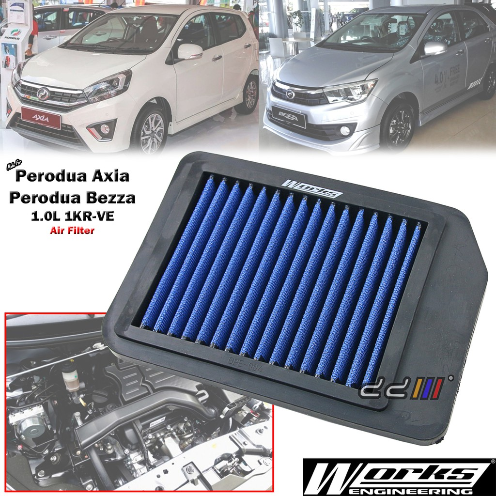 hight resolution of works high flow engine air filter kit for honda jazz fit ge8 1 3l 1 5l 2008 14 shopee malaysia