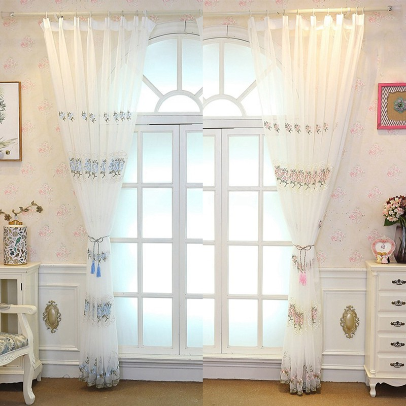 embroidery sheer curtains european floral drapes window treatment curtain panels