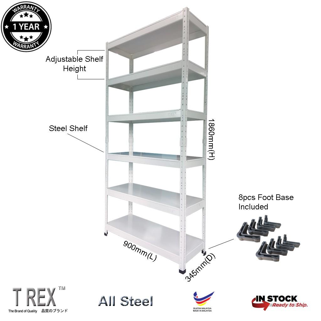 T Rex Standard 6 Tier Steel Boltless Storage Rack Metal Rack Warehouse Rack White