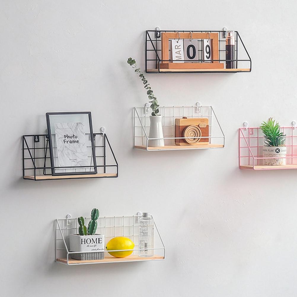 Creative Iron Craft Wall Hanging Basket Vase Books Storage Rack Wall Shelf Kitchen Organizer Bathroom Accessories Shopee Malaysia