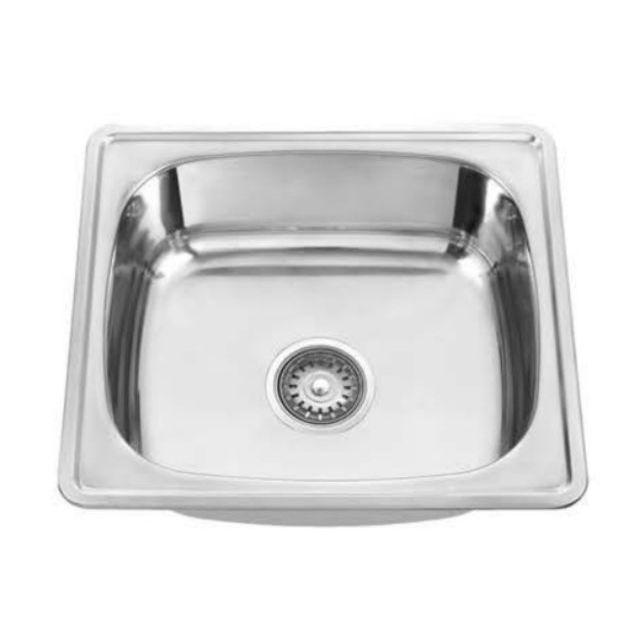 stainless steel kitchen single sink bowl 450mm l x 390mm l x 195mm d