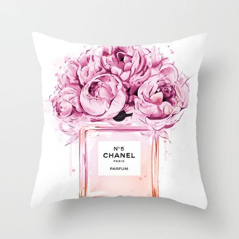 chanel flower pattern pillowcase cover throw pillow case sofa cushion cover