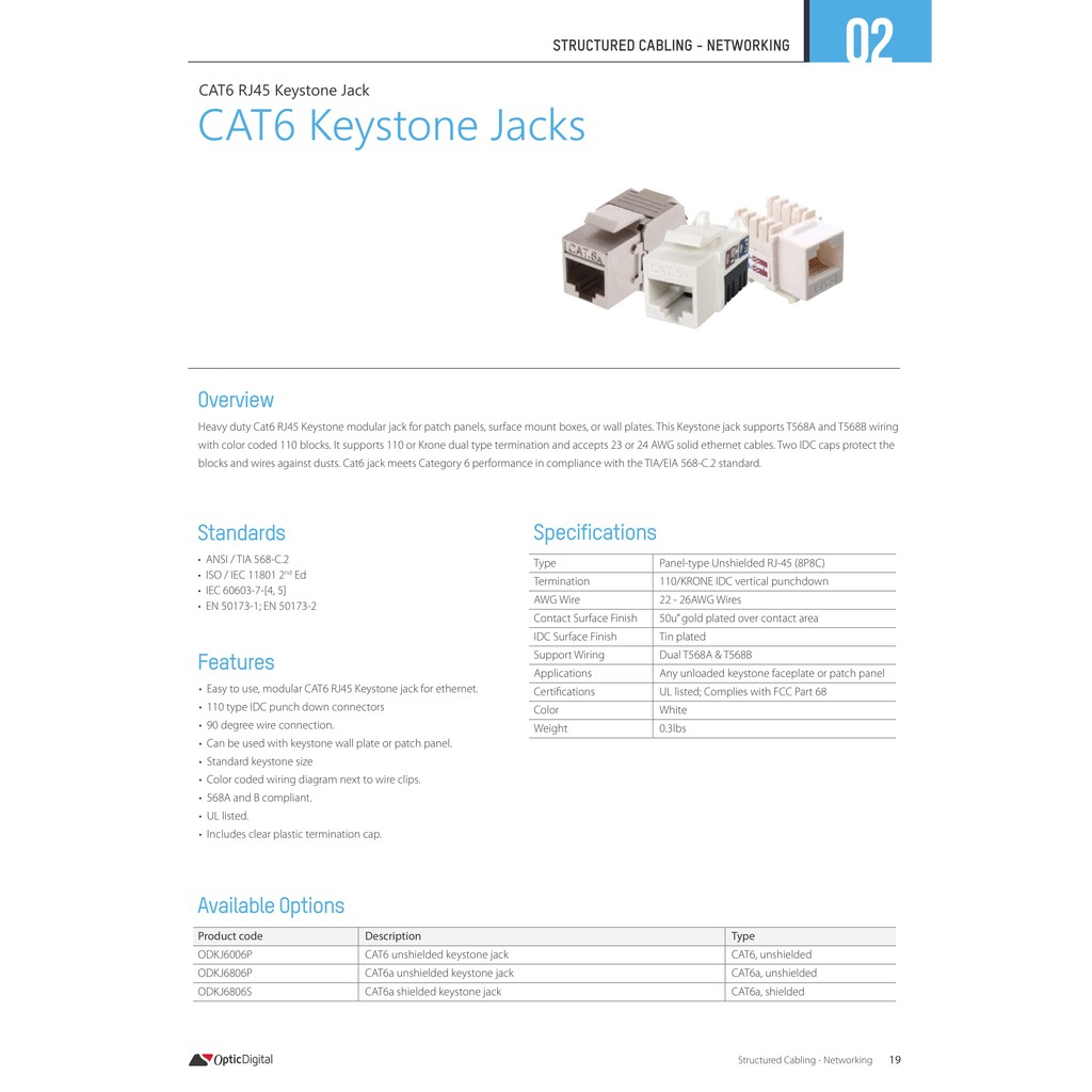 hight resolution of cat6 keystone jack punch down 1pc pack