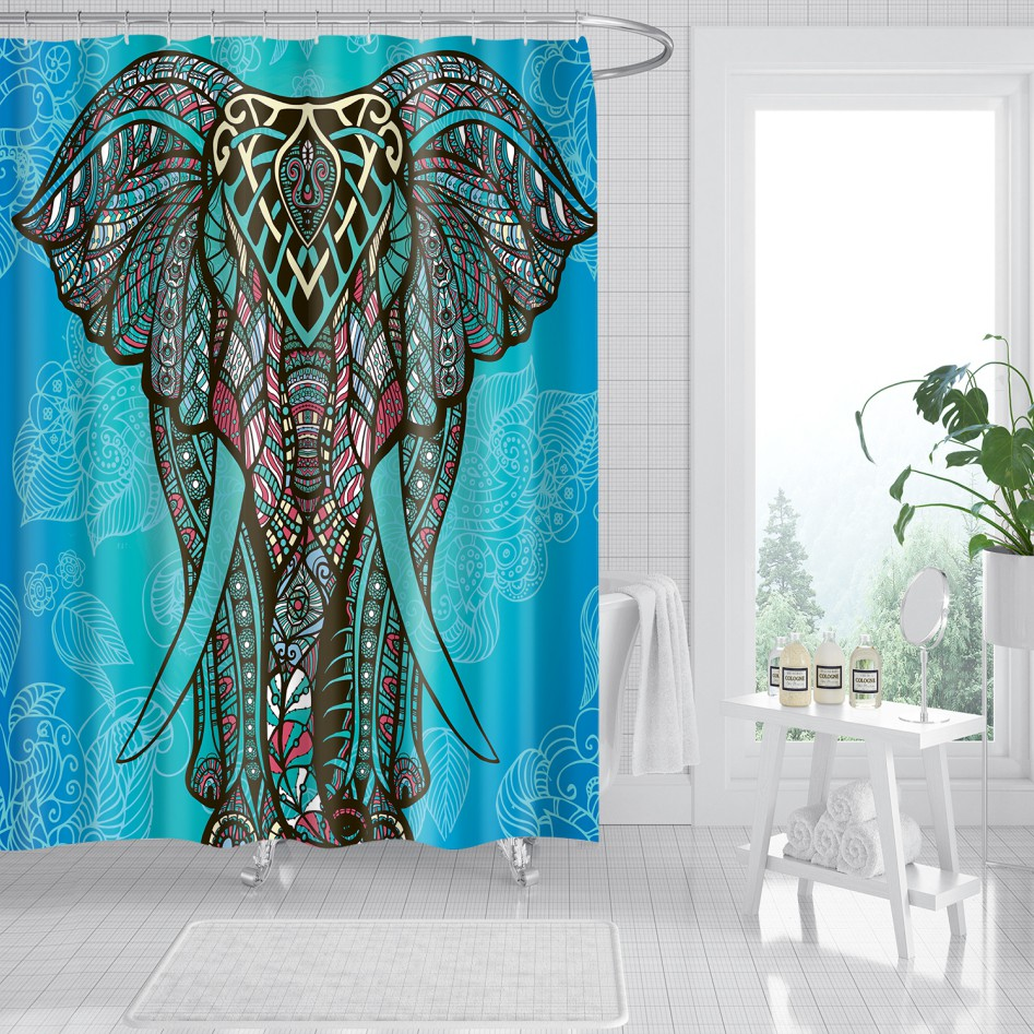 elephant shower curtains with hooks ethnic indian bohemian style mandala elephant bath curtain set for bathroom decor