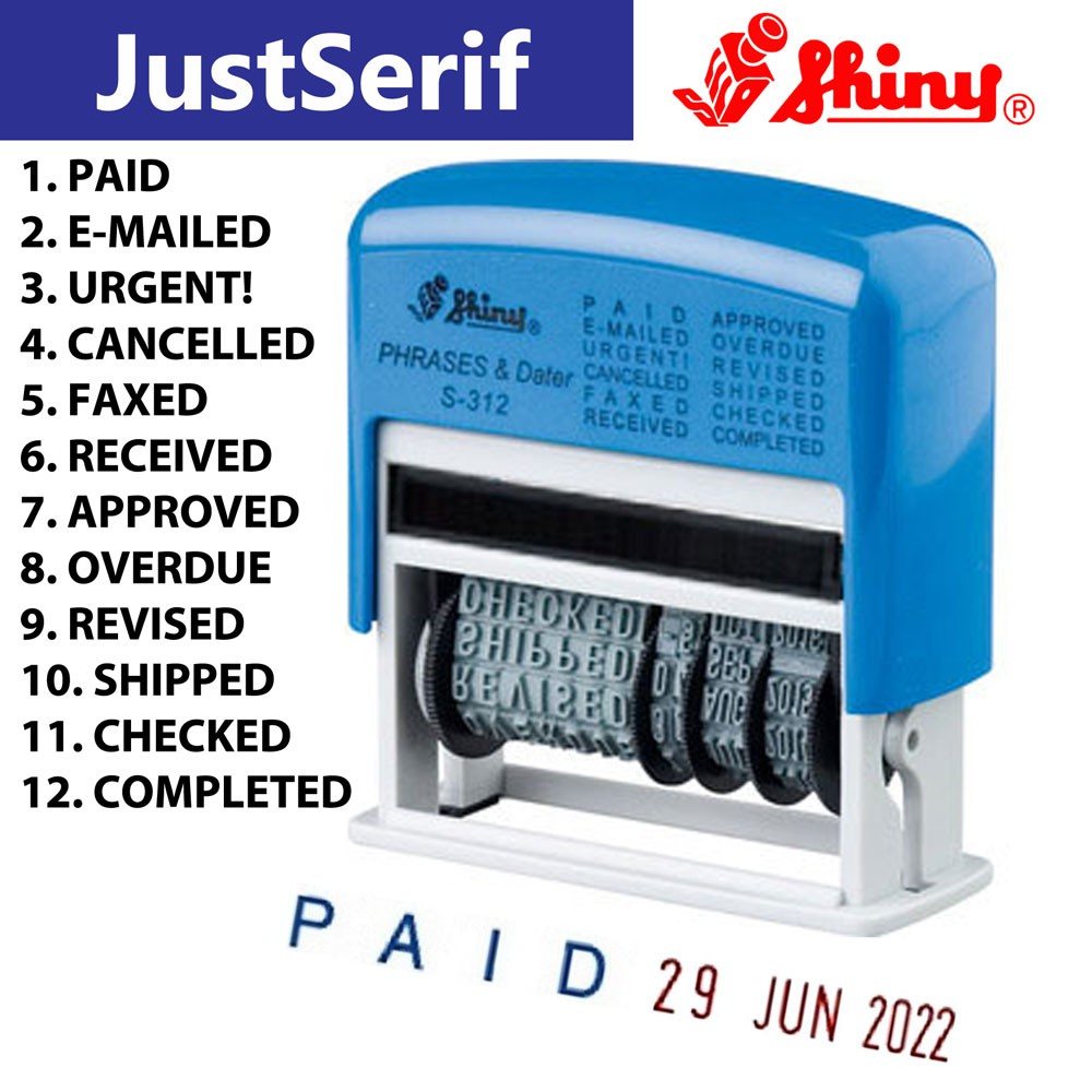 Shiny S312 Phrase date dater stamp dial a phrase. received. paid. approved S-312 | Shopee Malaysia
