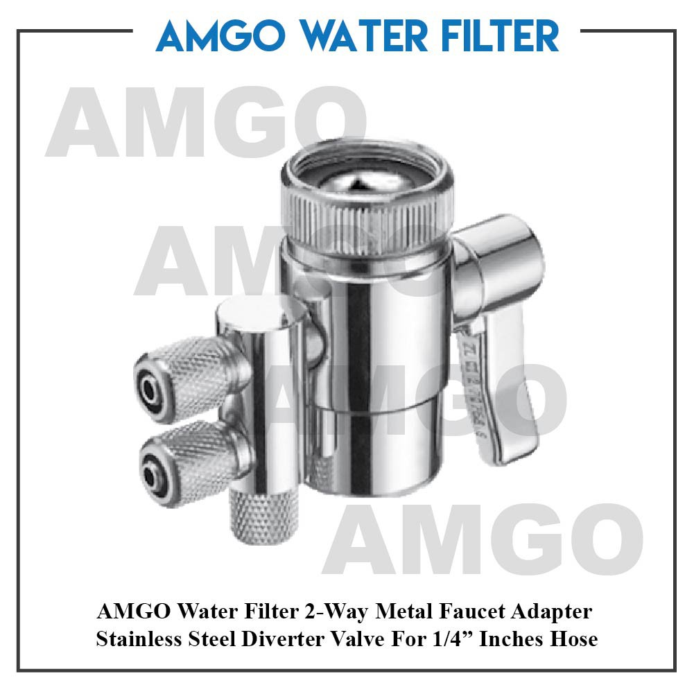 amgo 2 way water filter diverter valve faucet adapter for 1 4 hose