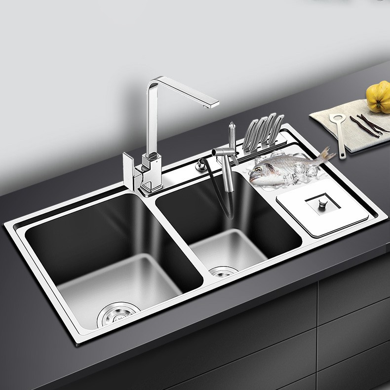 92 43cm all in one workstation 304 stainless steel multi purpose kitchen sink with trash bin