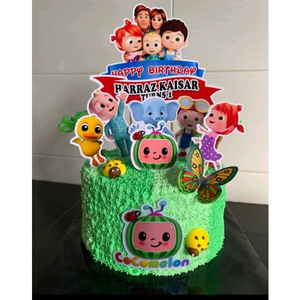 This is a rich and moist chocolate cake. Buy Custom Name Happy Birthday Cake Topper Cocomelon Kids Tv Decoration Set Party Accessories Banner Hiasan Kek Design Seetracker Malaysia